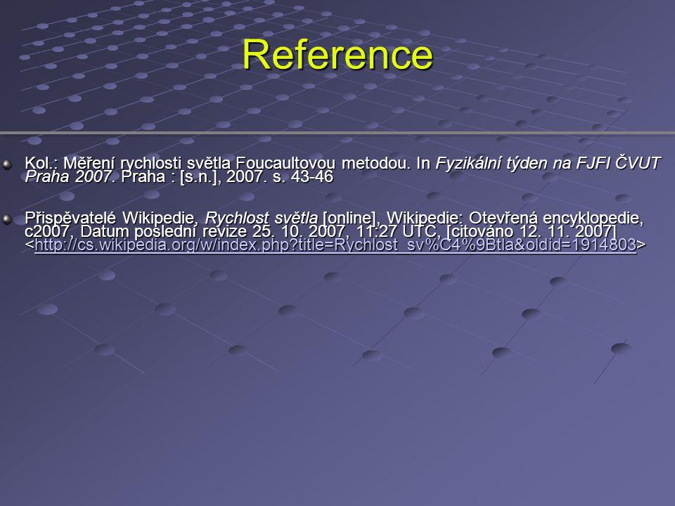 Reference Kol.: Měření rychlosti světla Foucaultovou metodou. In Fyzikální týden na FJFI ČVUT Praha 2007. Praha : [s.n.], 2007. s. 43-46.